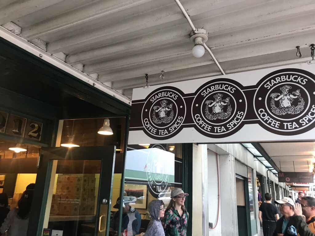 The first ever Starbucks store sign... looks a bit different today on the new stores!