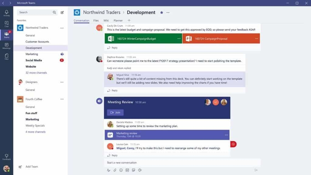 Screenshot of Microsoft Teams integration with Office 365 Suite