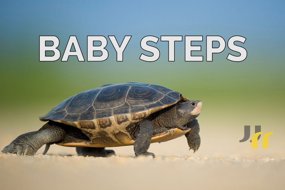 "Photo of turtle walking on sand with caption ""BABY STEPS"""