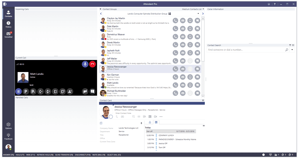 screenshot of Microsoft Teams and Landis Attendant Pro