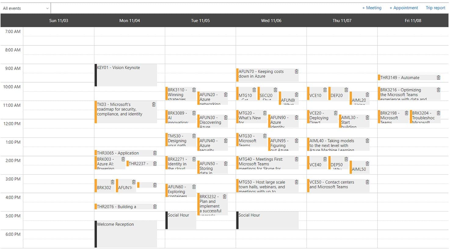 screenshot of calendar with many blocks double and triple booked
