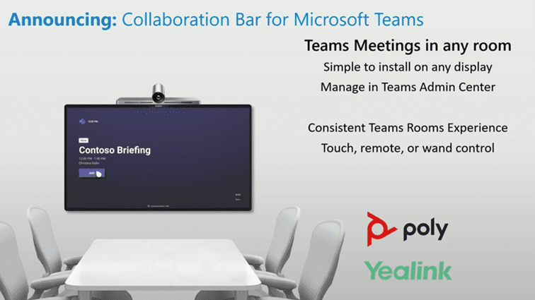 "image of slide with title ""Annoucing: Collaboration Bar for Microsoft Teams"" with image of Teams meeting room/huddle space and logos from Poly and Yealink."