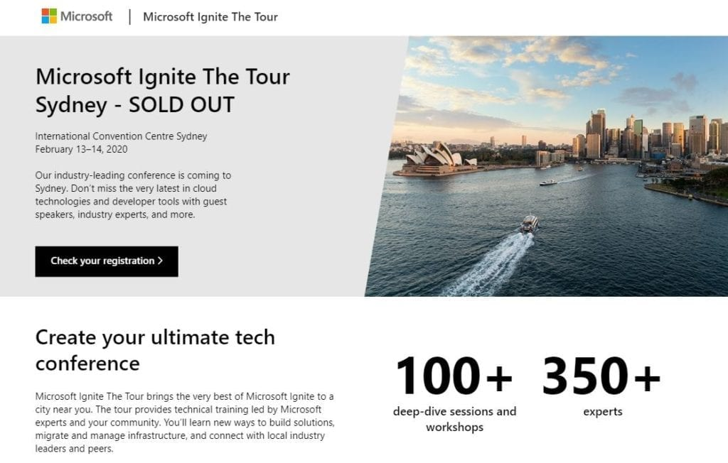 header image from microsoft website with image of sydney harbour including the opera house